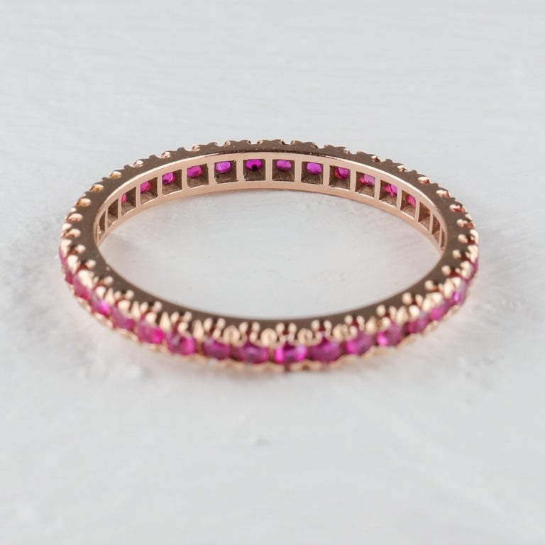 Retro Ruby Eternity Band XL, circa 1940s For Sale
