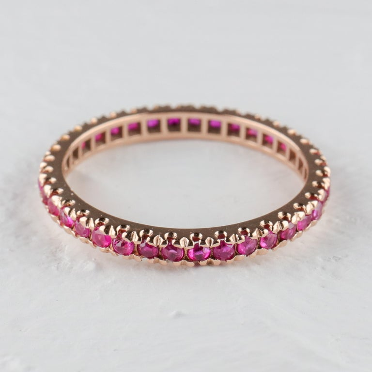 Ruby Eternity Band XL, circa 1940s In Excellent Condition For Sale In Southbury, CT
