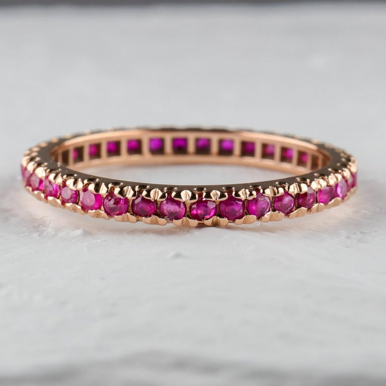 Women's or Men's Ruby Eternity Band XL, circa 1940s For Sale