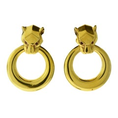 Ruby Eye Large Panther Head in 18 Karat Yellow Gold Door Knocker Earrings
