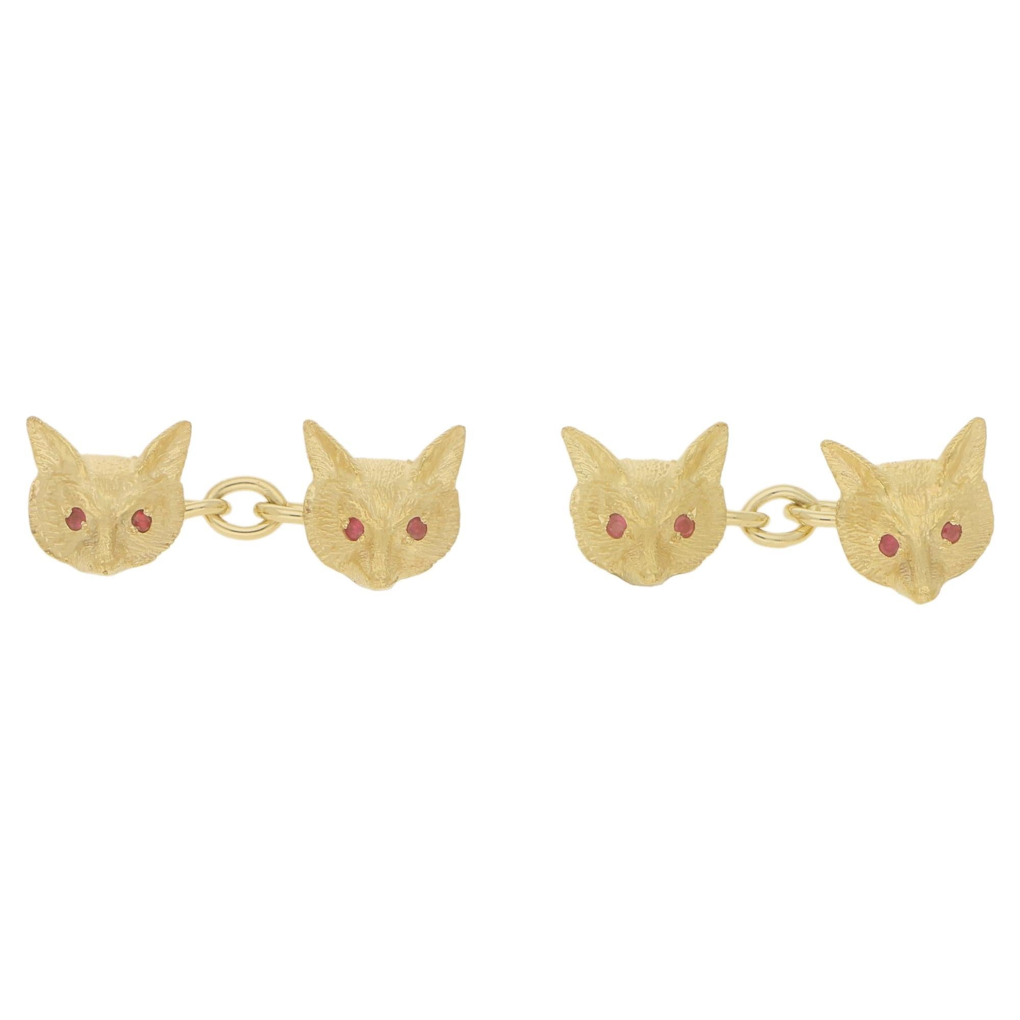 Ruby Eyed Fox Head Chain Cufflinks Set in 9 Karat Yellow Gold