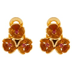 Ruby Floral Gold Clip-On Earrings