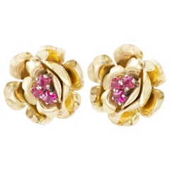 Ruby Floral Gold Stud Earrings