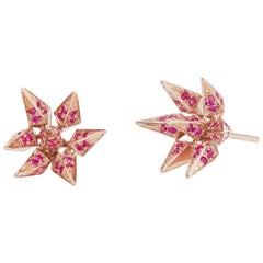Ruby Geometric Hedgehog Studs in 18 Karat Rose Gold