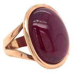 Ruby Glass Filed on Pink Gold 18 Karat Fashion Ring