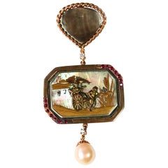 Ruby Gold Antiques Japanies Miniature Pearl Diamonds