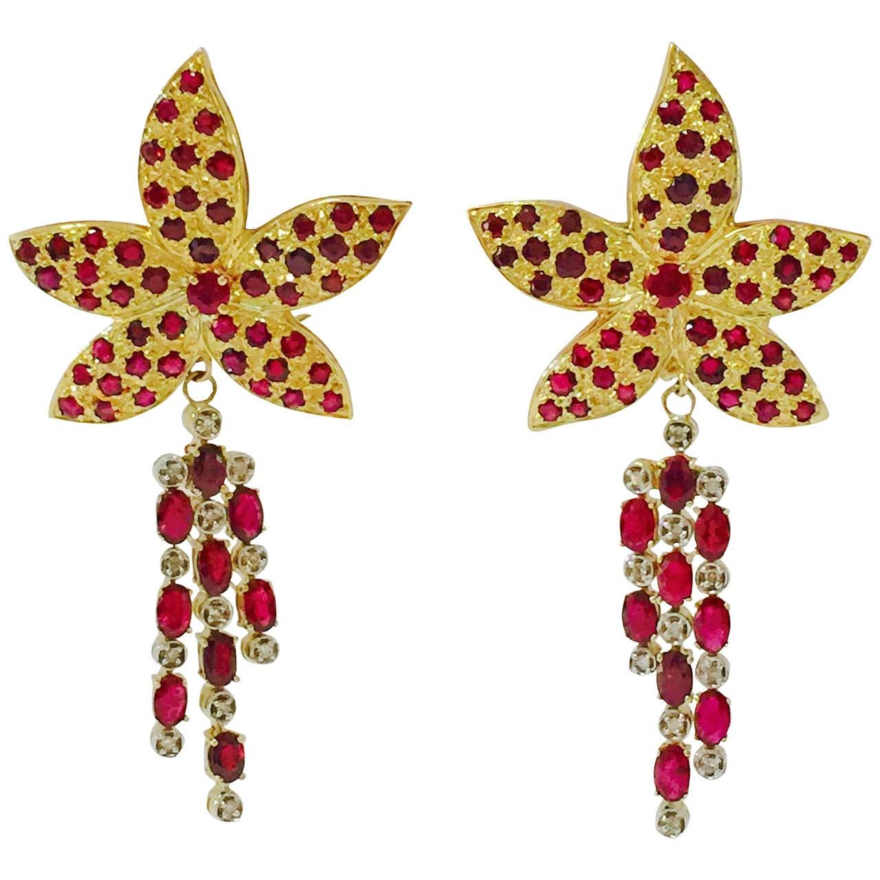 Ruby Gold Flower Dangle Earrings