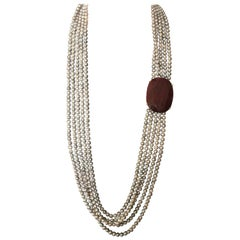 Ruby Gold Fresh Water Pearls Necklace