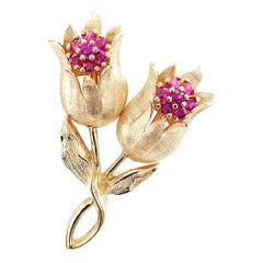 Ruby Gold Tulip Brooch