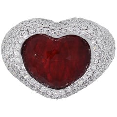 Ruby Heart and Pave Diamond Cocktail Ring