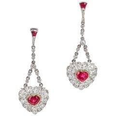 Ruby Heart Diamond Platinum Dangle Drop Earrings
