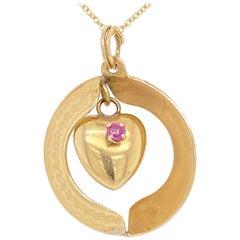 Ruby Heart Necklace, Sapphire Heart Pendant, Reversible, 14 Karat Yellow Gold