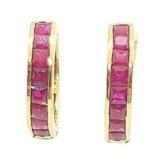 Ruby Huggies/Hoop Earrings Set in 18 Karat Gold Settings
