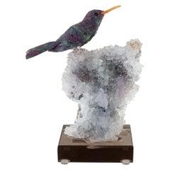 Ruby Hummingbird on Amethyst & Quartz Mineral Base