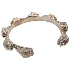 Ruby Jaguar Statement Arm Cuff Bangle Bronze Animal Jewelry J Dauphin