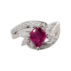 Ruby Kite and White Diamond Cocktail Ring in Platinum