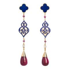 Ruby, Lapis Lazuli Quatrefoil, and Diamond Statement Earrings in 18 Karat Gold