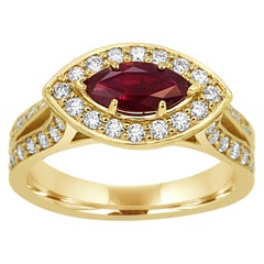 Ruby Marquise White Diamond Round Halo Yellow Gold Bridal Fashion Cocktail Ring