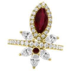 Ruby Marquise Diamond Round Halo Yellow Gold Cocktail Fashion Ring