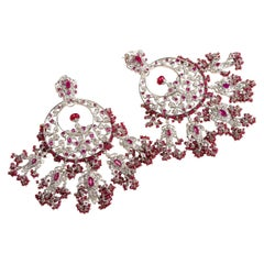 KimK Ruby Earrings with Diamonds and White Sapphires