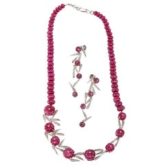 Ruby Melon Carved Necklace with Matching Earrings