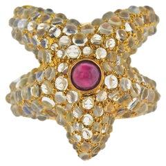 Ruby Moonstone Gold Starfish Ring