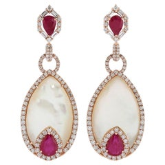 Ruby Mother of Pearl Diamond 18 Karat Gold Earrings