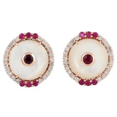 Ruby Mother of Pearl Diamond 18 Karat Gold Round Stud Earrings