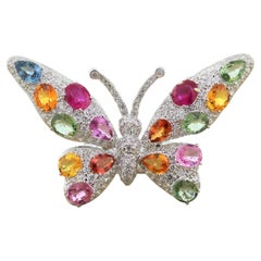 Ruby Multi-Color Sapphire Diamond Gold Butterfly Ring