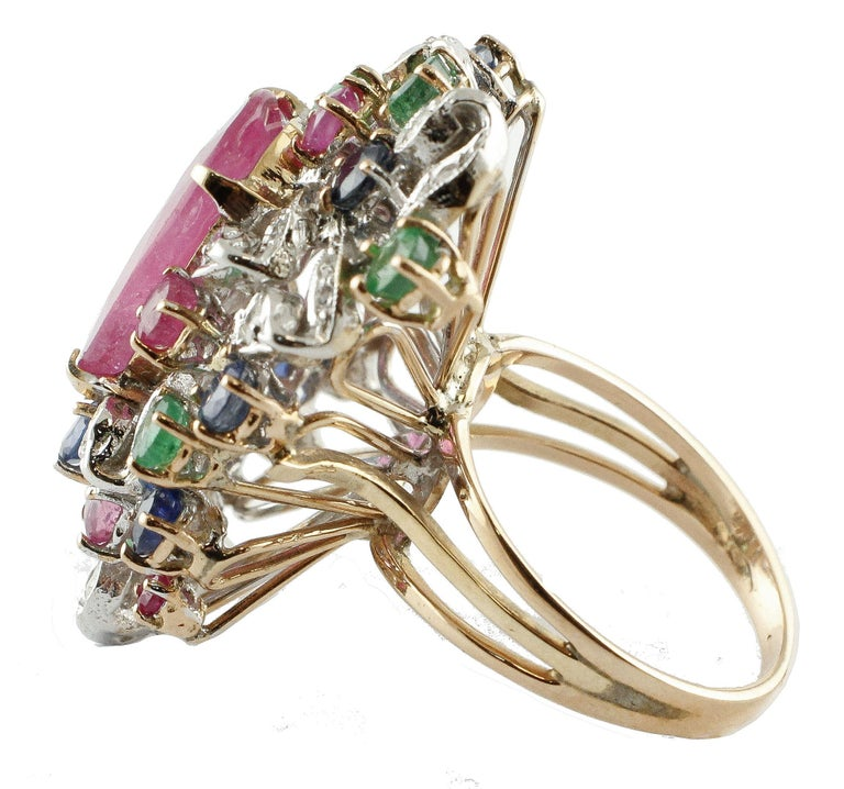 Ruby Multi Gemstone Two Color Gold Cluster Ring In Good Condition For Sale In Napoli, IT