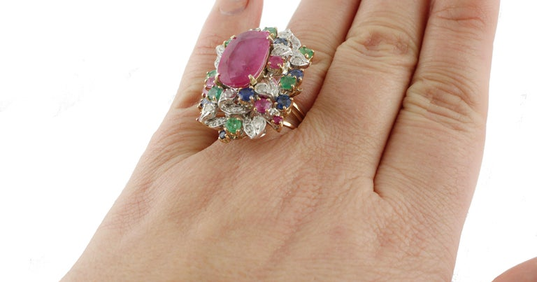 Ruby Multi Gemstone Two Color Gold Cluster Ring For Sale 4