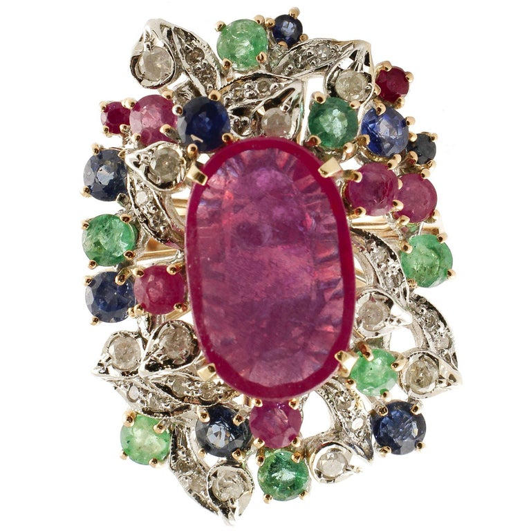 Ruby Multi Gemstone Two Color Gold Cluster Ring For Sale