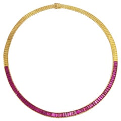 Ruby Necklace Set in 18 Karat Gold Settings