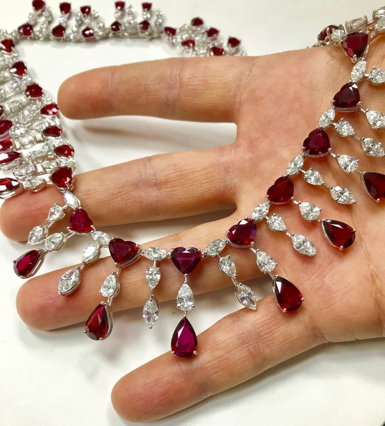 Contemporary Ruby 'No Heat' and Diamond Necklace Set with Earrings and Bracelet For Sale