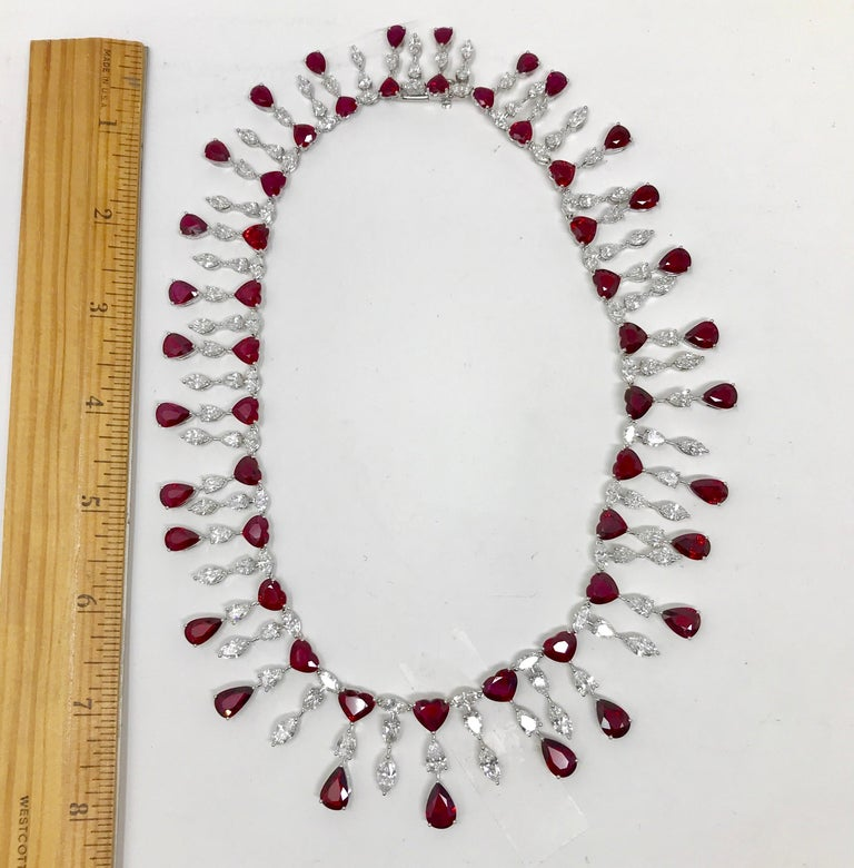 Pear Cut Ruby 'No Heat' and Diamond Necklace Set with Earrings and Bracelet For Sale