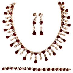Ruby 'No Heat' and Diamond Necklace Set with Earrings and Bracelet