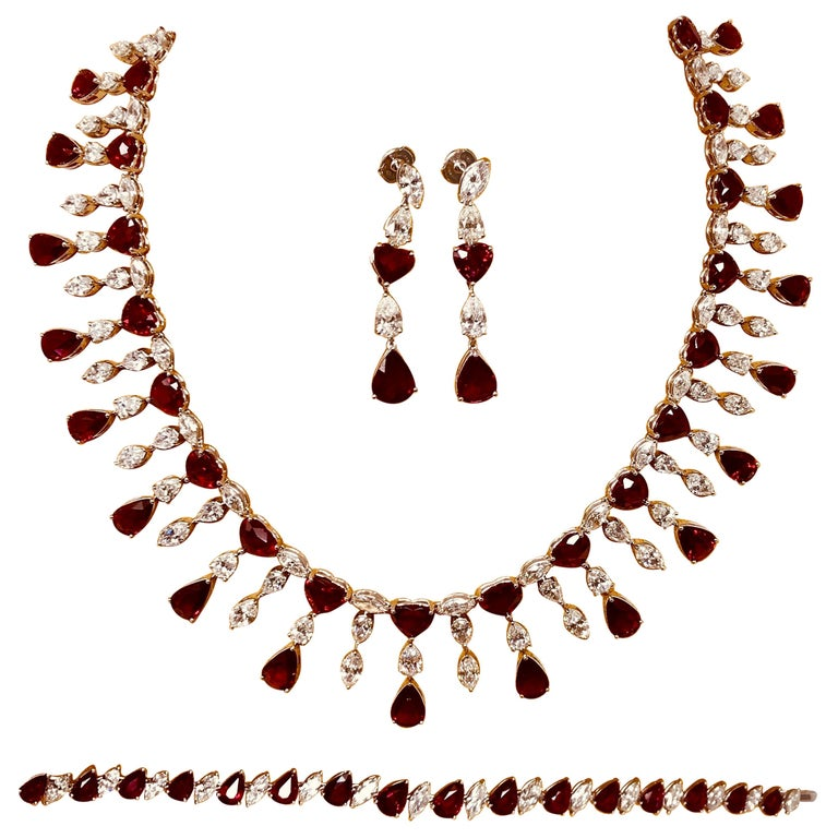 Ruby 'No Heat' and Diamond Necklace Set with Earrings and Bracelet For Sale