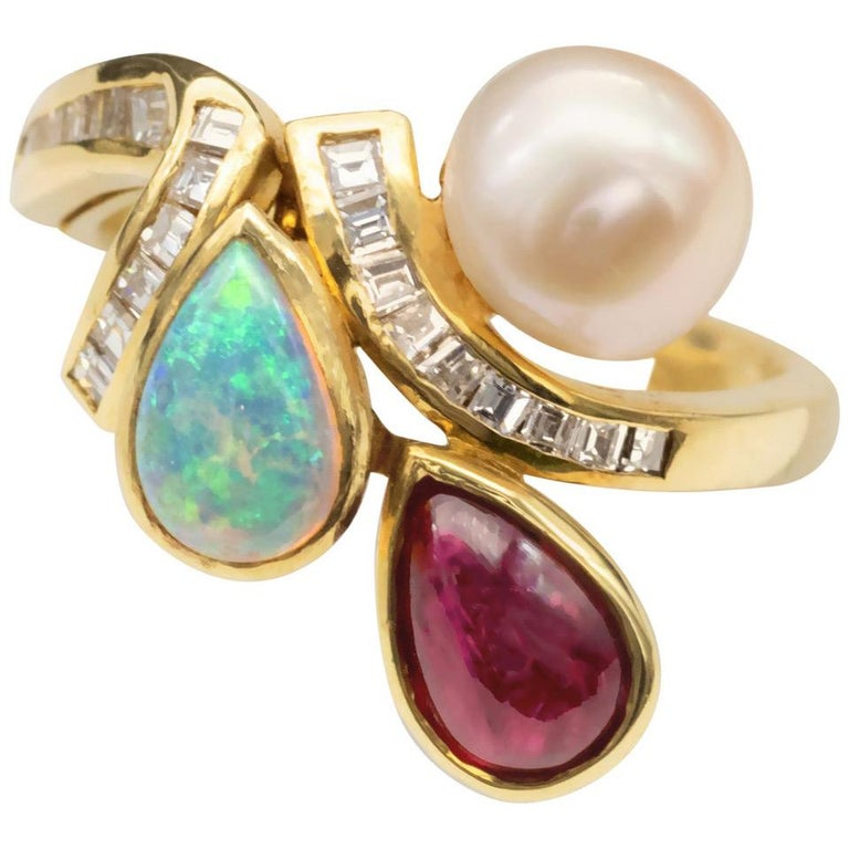 Ruby Opal Pearl and Diamonds 18 Karat Gold Ring For Sale