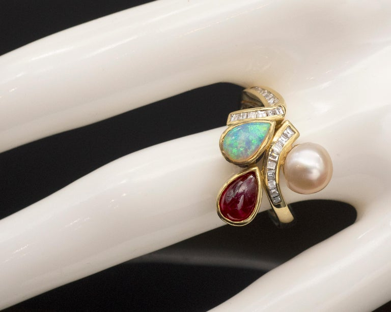 Mixed Cut Ruby Opal Pearl and Diamonds 18 Karat Gold Ring For Sale