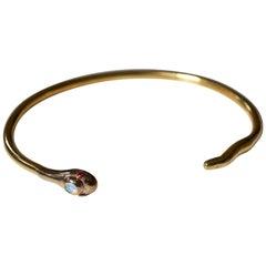 Ruby Opal Snake Bronze Brass Bracelet Bangle J Dauphin
