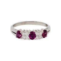 Ruby Oval and White Diamond Band Ring