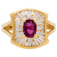 Ruby Oval and White Diamond Cocktail Ring in 18 Karat Yellow Gold