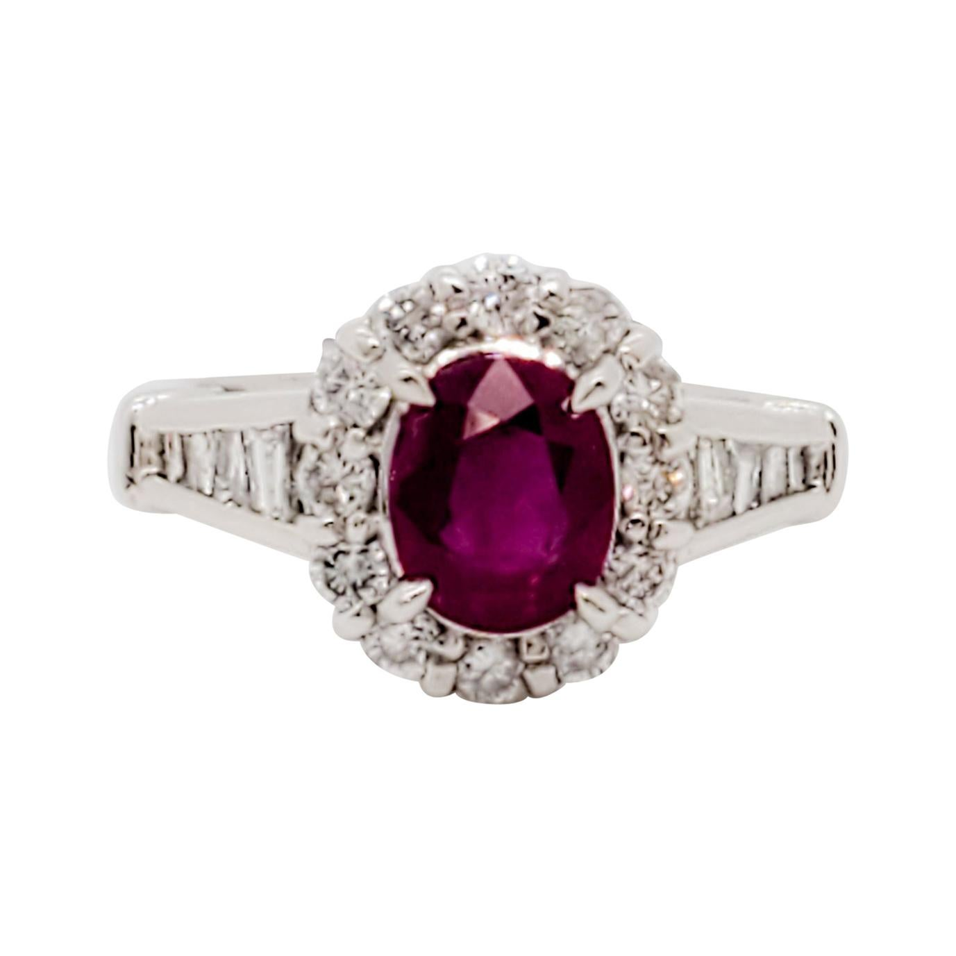 Ruby Oval and White Diamond Cocktail Ring in Platinum