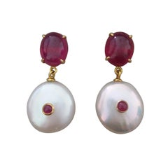 Ruby Oval Cabs 14 Kt Yellow Gold White Button Shape Baroque Pearls Earrings