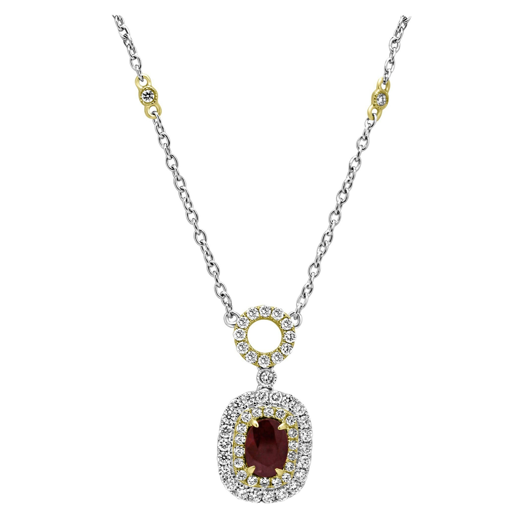 Ruby Oval Diamond Double Halo Two-Color Gold Pendant Diamond by Yard Necklace