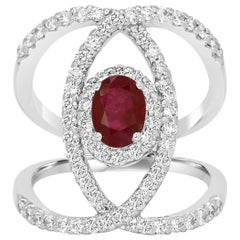 Ruby Oval Diamond Halo Gold Bridal Right Hand Fashion Cocktail Crossover Ring