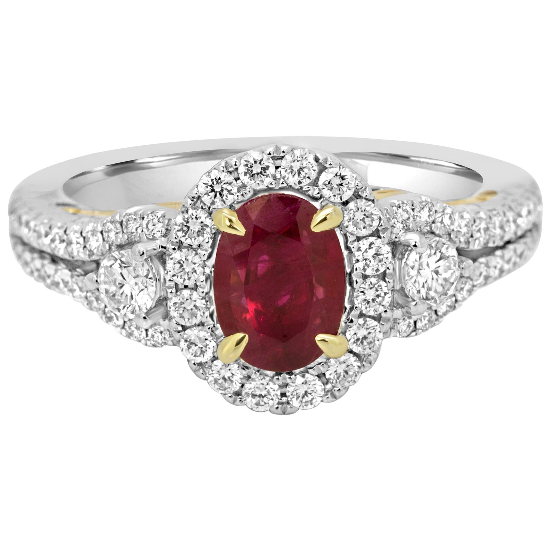 Ruby Oval Diamond Round Halo Three-Stone Two-Color Gold Bridal Cocktail Ring