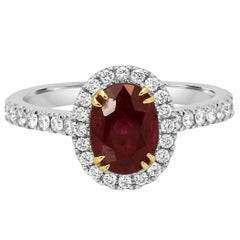 Ruby Oval Diamond Round Halo Two-Color Gold Bridal Cocktail Ring