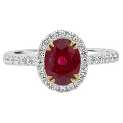 Ruby Oval Diamond Round Halo 14K White and Yellow Gold Bridal Fashion Ring