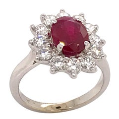 Ruby Oval Shape 2.06 Carat and Diamonds White Gold 18 Karat Engagement Ring